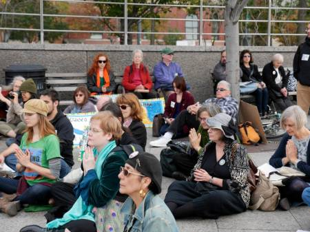 50 in attendance at the Global Frackdown October 19, 2013 at the site of the Spectra Pipeline NYC photo Owen Crowley