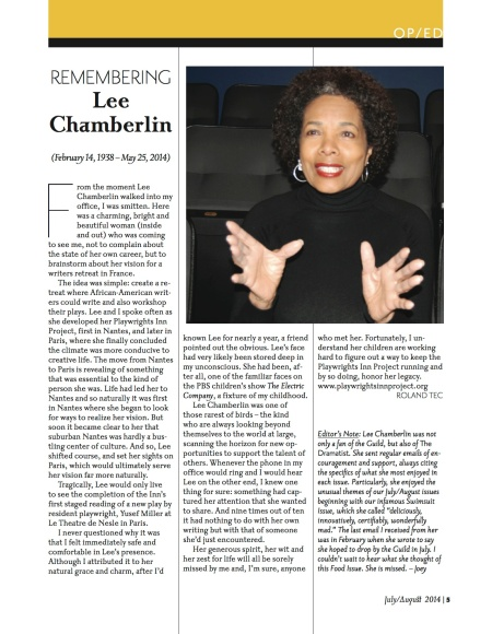 Remembering Lee Chamberlin appeared in The Dramatists Guild Magazine. Written by Roland Tec a person whom she really liked and found support in.